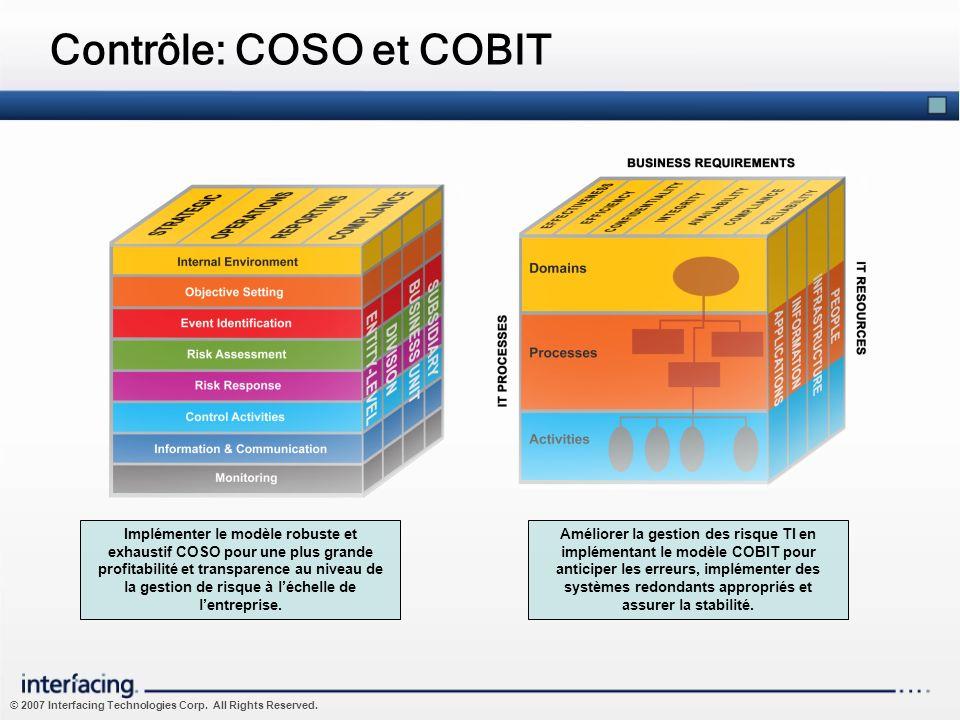 © 2007 Interfacing Technologies Corp. All Rights Reserved. Contrôle: COSO et COBIT Implémenter le modèle robuste et exhaustif COSO pour une plus grand