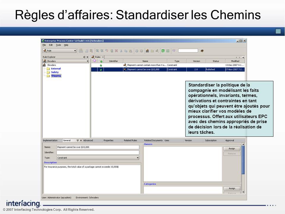 © 2007 Interfacing Technologies Corp. All Rights Reserved. Règles daffaires: Standardiser les Chemins Standardiser la politique de la compagnie en mod