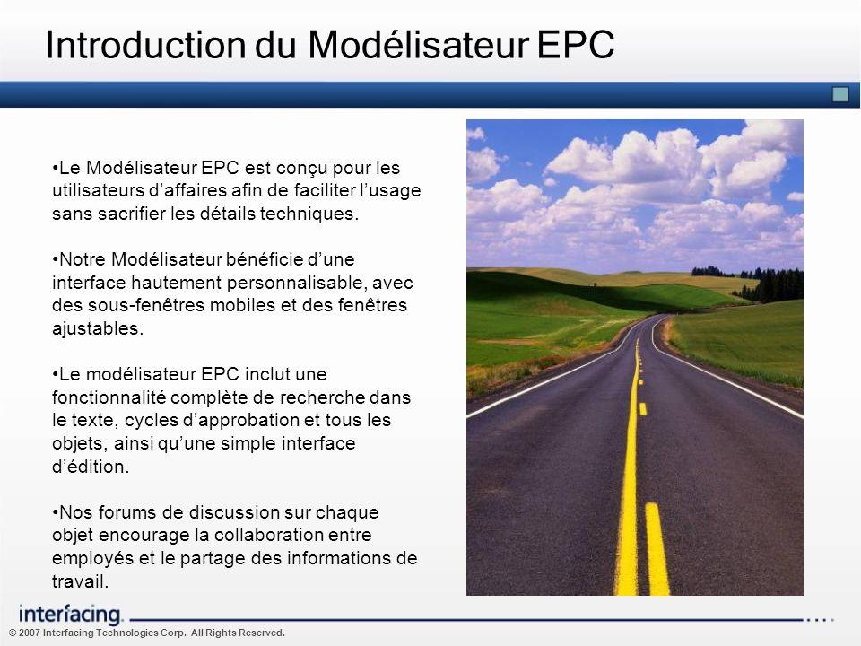 © 2007 Interfacing Technologies Corp. All Rights Reserved. Introduction du Modélisateur EPC Le Modélisateur EPC est conçu pour les utilisateurs daffai