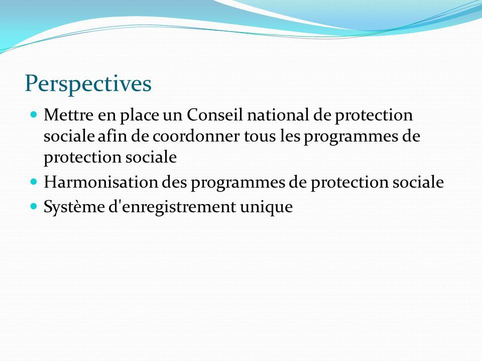 Perspectives Mettre en place un Conseil national de protection sociale afin de coordonner tous les programmes de protection sociale Harmonisation des programmes de protection sociale Système d enregistrement unique