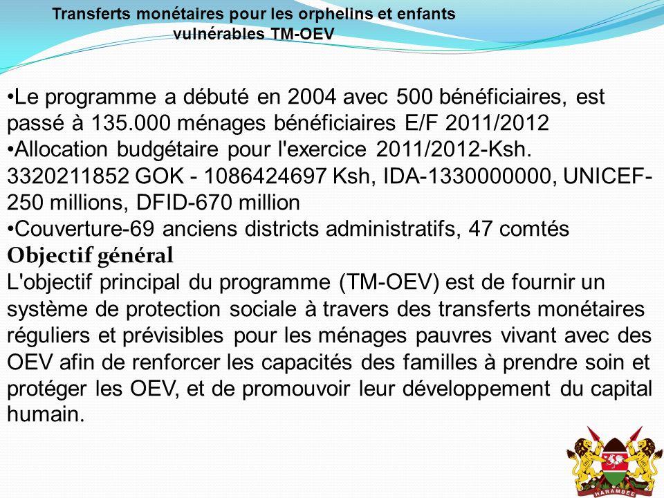 Le programme a débuté en 2004 avec 500 bénéficiaires, est passé à 135.000 ménages bénéficiaires E/F 2011/2012 Allocation budgétaire pour l exercice 2011/2012-Ksh.