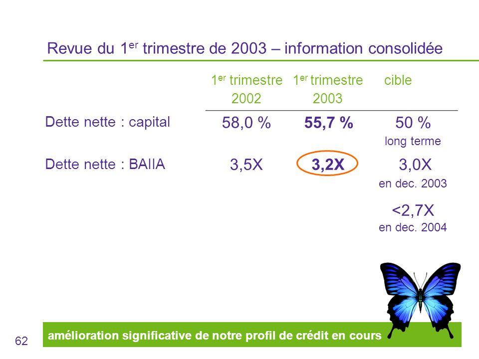 62 Revue du 1 er trimestre de 2003 – information consolidée 1 er trimestre 2002 1 er trimestre 2003 cible Dette nette : capital 58,0 %55,7 %50 % long terme Dette nette : BAIIA 3,5X3,2X 3,0X en dec.