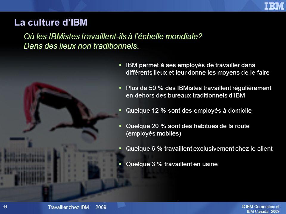 © IBM Corporation et IBM Canada, 2009 Travailler chez IBM 2009 11 La culture dIBM Où les IBMistes travaillent-ils à léchelle mondiale.