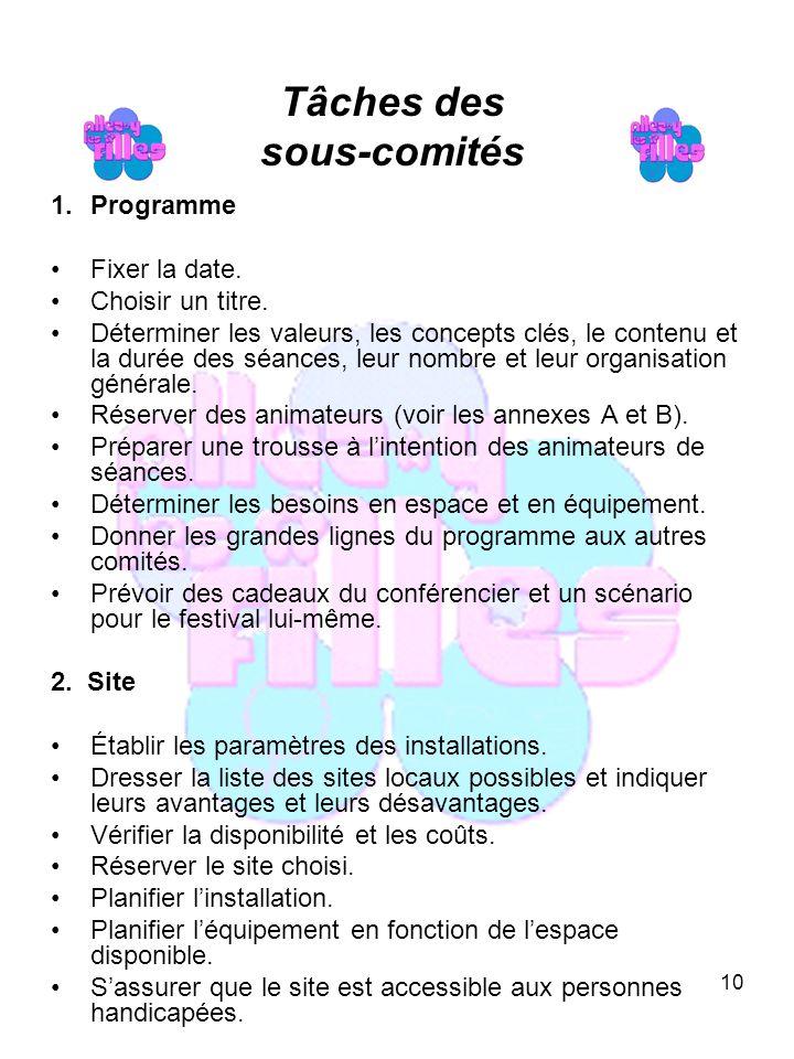 10 Tâches des sous-comités 1.Programme Fixer la date.