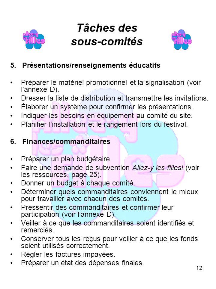 12 Tâches des sous-comités 5.