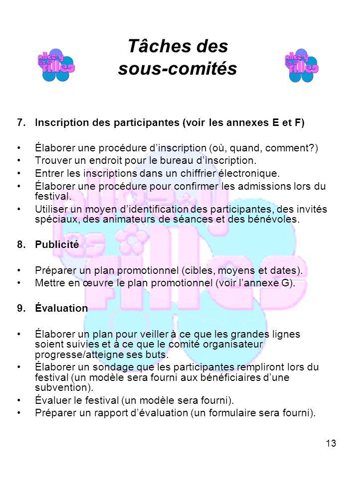 13 Tâches des sous-comités 7.