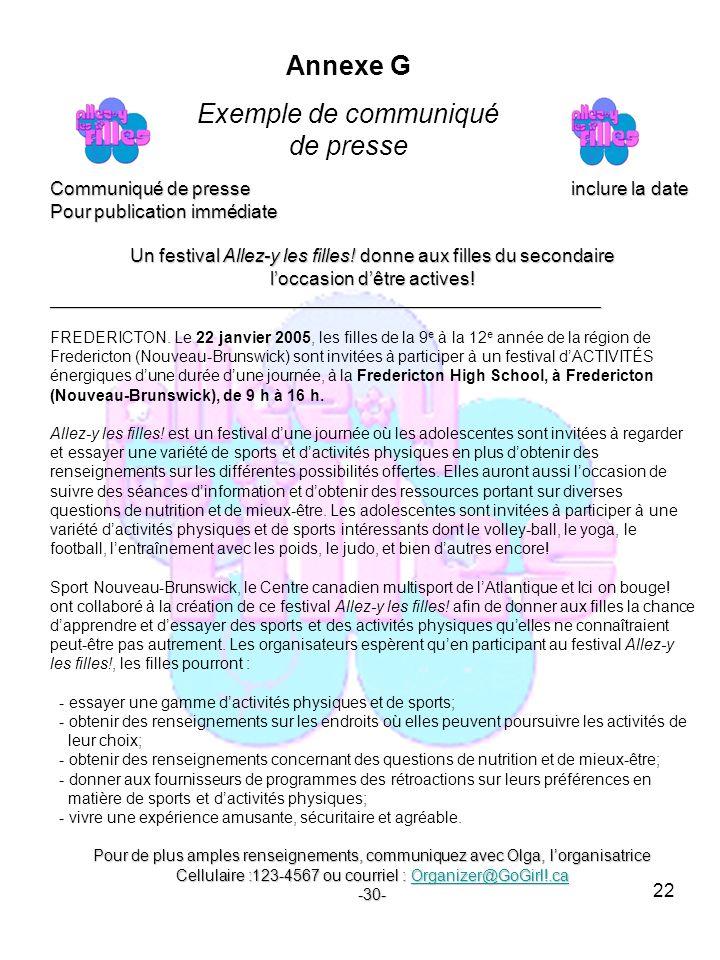22 Communiqué de presse inclure la date Pour publication immédiate Un festival Allez-y les filles.