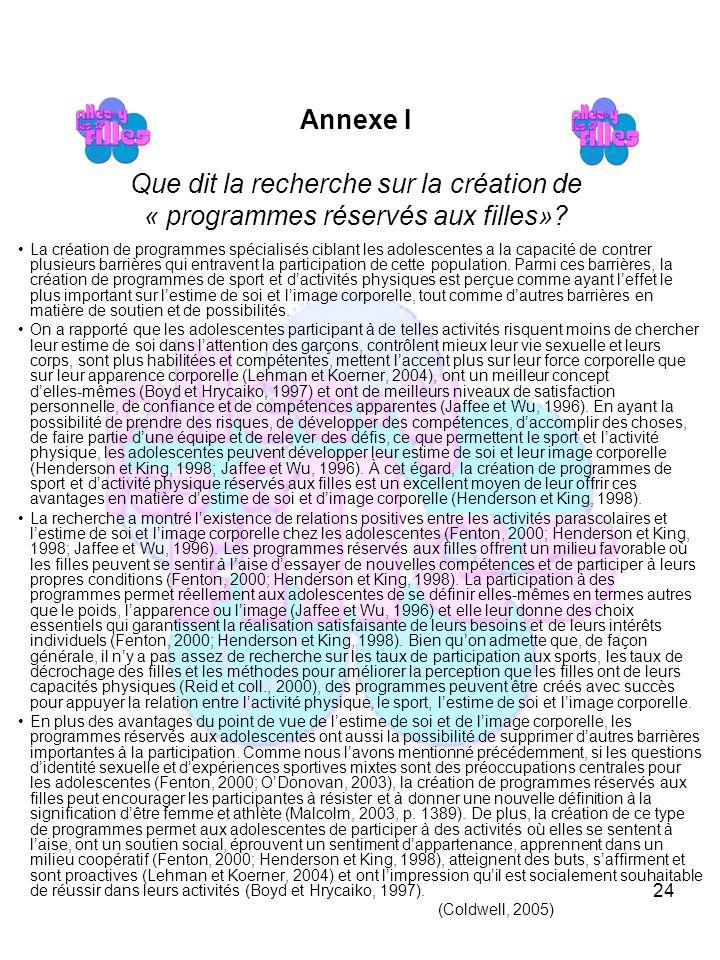 24 Annexe I Que dit la recherche sur la création de « programmes réservés aux filles».