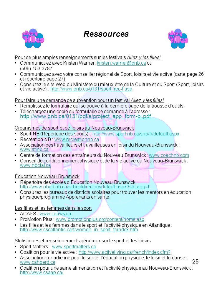 25 Ressources Pour de plus amples renseignements sur les festivals Allez-y les filles.