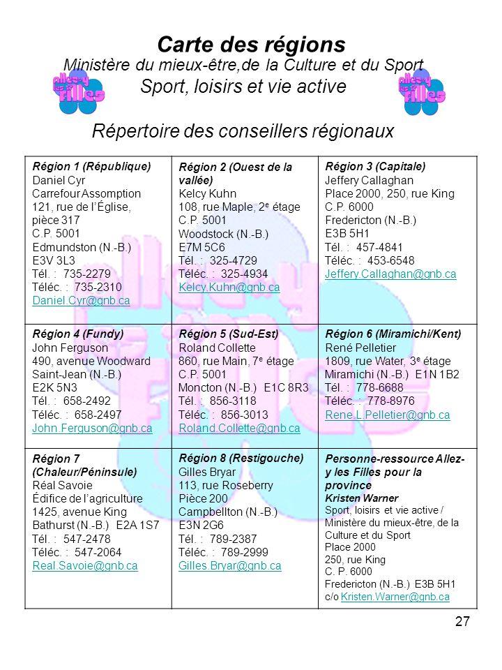 27 Carte des régions Région 1 (République) Daniel Cyr Carrefour Assomption 121, rue de lÉglise, pièce 317 C.P.