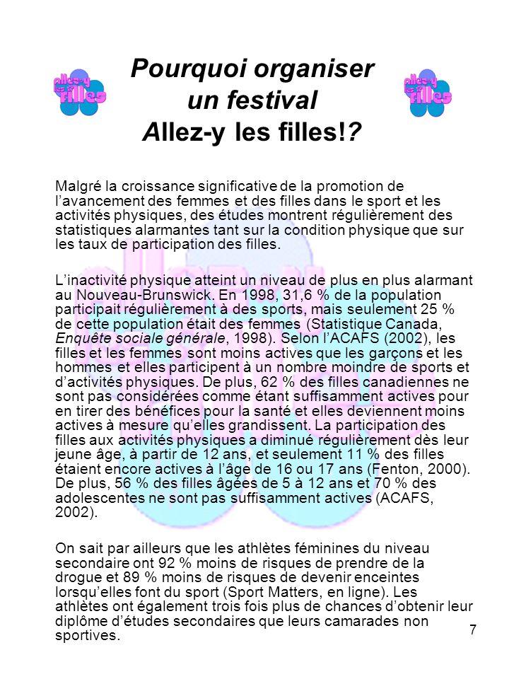 18 Annexe D Exemple de lettre pour commanditaire/présentation Le _____________(date), environ _____(n br ) filles assisteront à un festival Allez-y les filles.