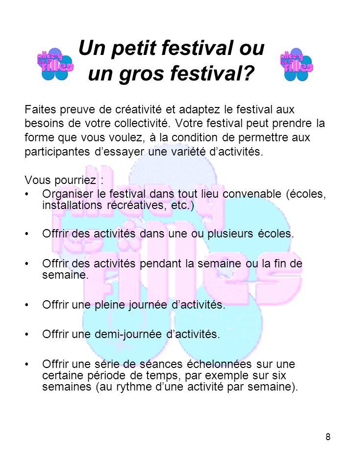 8 Un petit festival ou un gros festival.