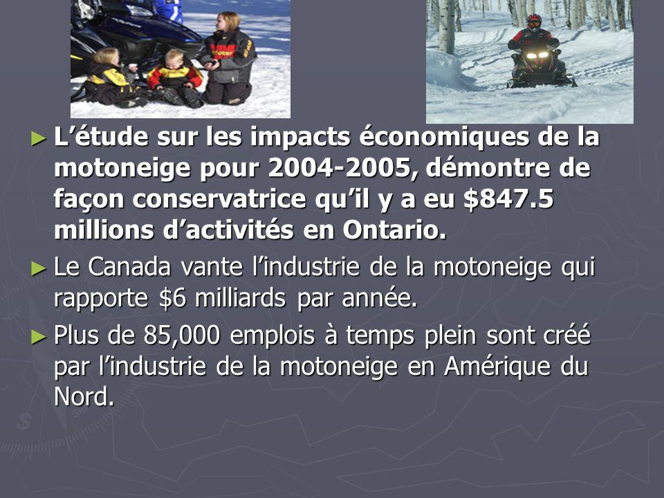 Impact économique de lindustrie Les sentiers de motoneiges deviennent des artères créant de la vitalité dans les communautés.