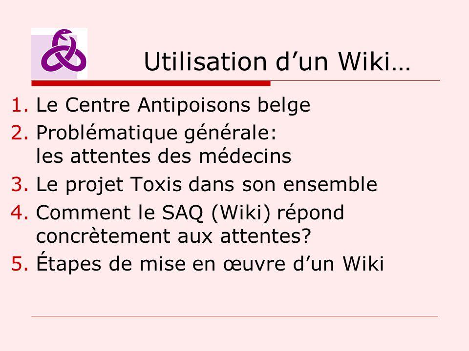 Utilisation dun Wiki… 1.Le Centre Antipoisons belge 2.Problématique générale: les attentes des médecins 3.Le projet Toxis dans son ensemble 4.Comment