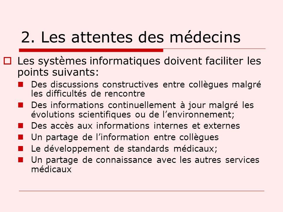 2. Les attentes des médecins Les systèmes informatiques doivent faciliter les points suivants: Des discussions constructives entre collègues malgré le