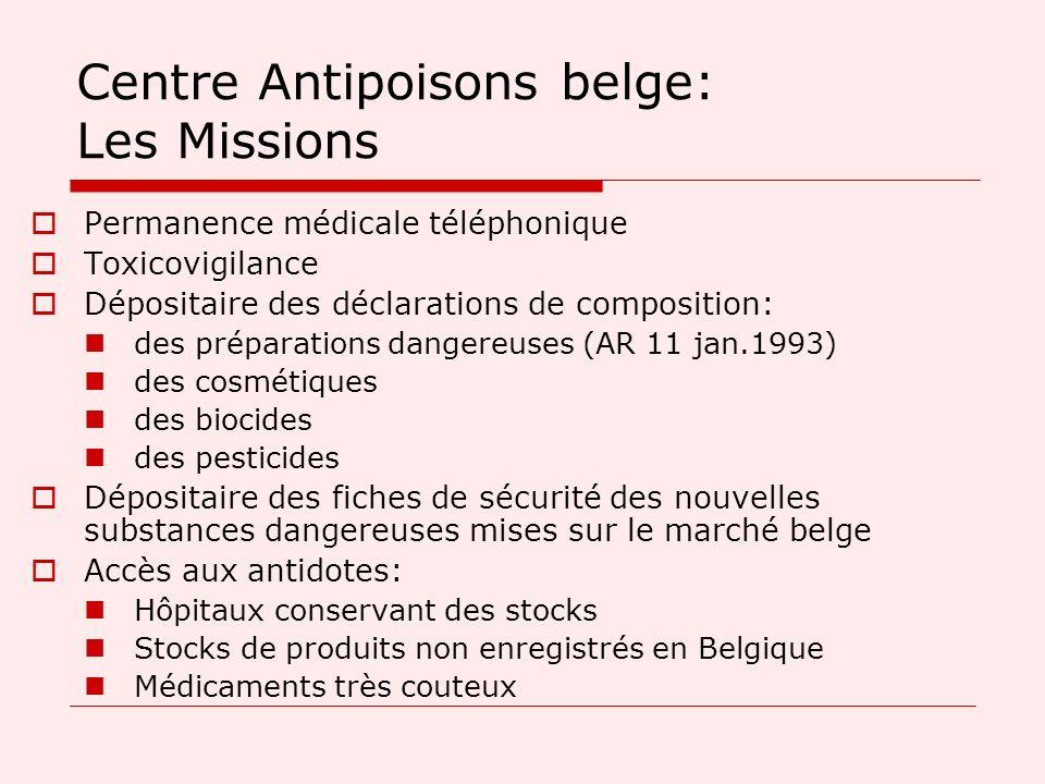 Centre Antipoisons belge: Les Missions Permanence médicale téléphonique Toxicovigilance Dépositaire des déclarations de composition: des préparations
