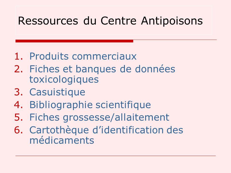 1.Produits commerciaux 2.Fiches et banques de données toxicologiques 3.Casuistique 4.Bibliographie scientifique 5.Fiches grossesse/allaitement 6.Carto