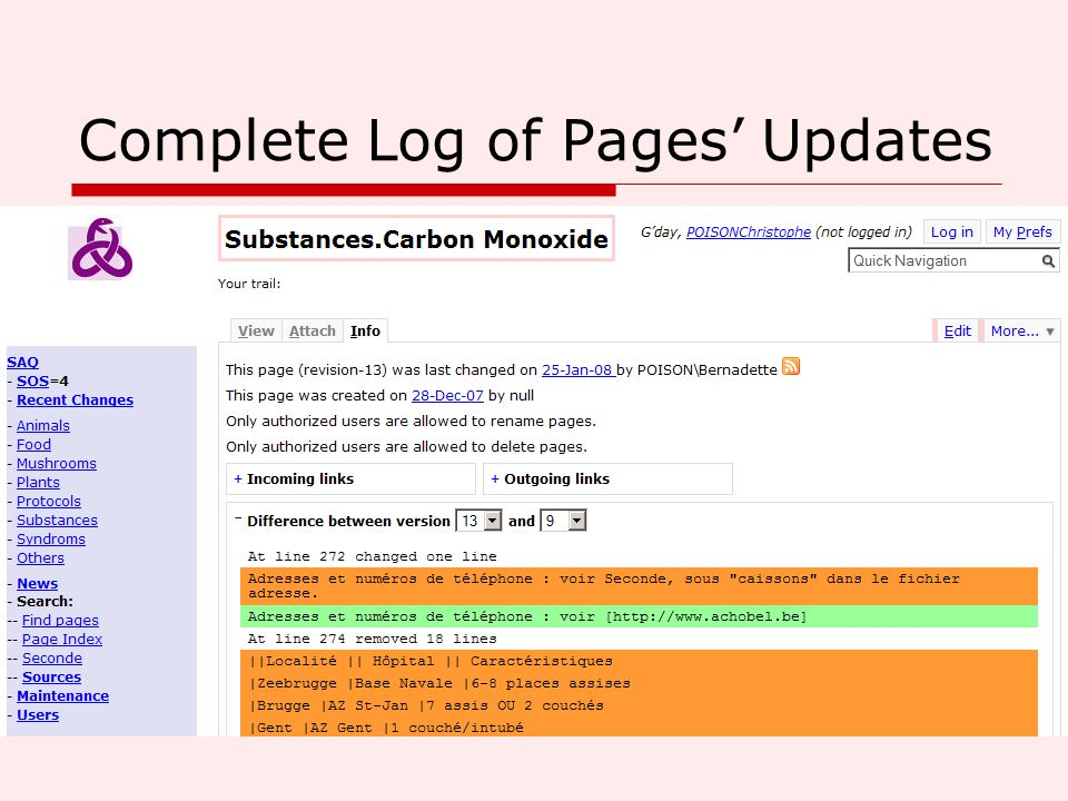 Complete Log of Pages Updates