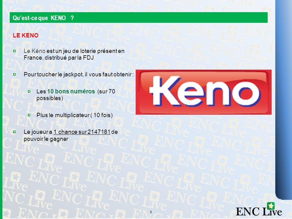 Quest-ce que KENO ? LE KENO Le Kéno est un jeu de loterie présent en France, distribué par la FDJ Pour toucher le jackpot, il vous faut obtenir : Les