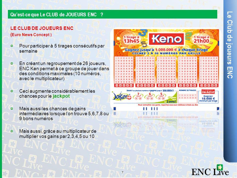 Le Club de joueurs ENC Quest-ce que Le CLUB de JOUEURS ENC ? LE CLUB DE JOUEURS ENC ( Euro News Concept ) Pour participer à 5 tirages consécutifs par