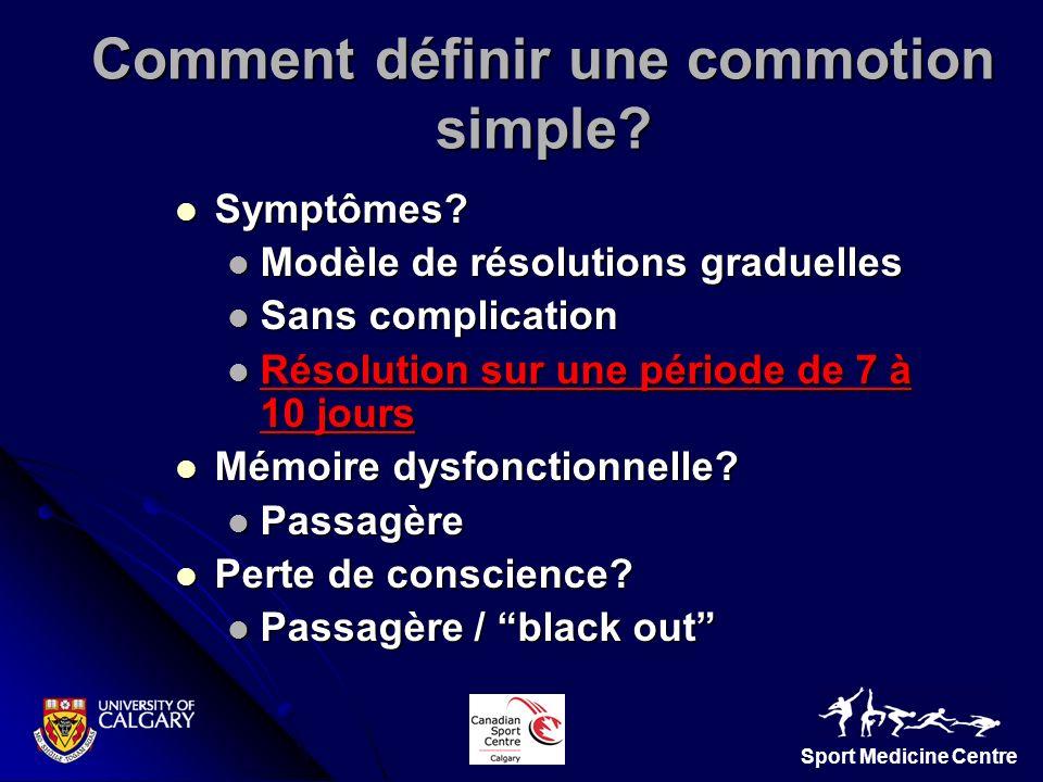 Sport Medicine Centre Comment définir une commotion simple? Symptômes? Symptômes? Modèle de résolutions graduelles Modèle de résolutions graduelles Sa