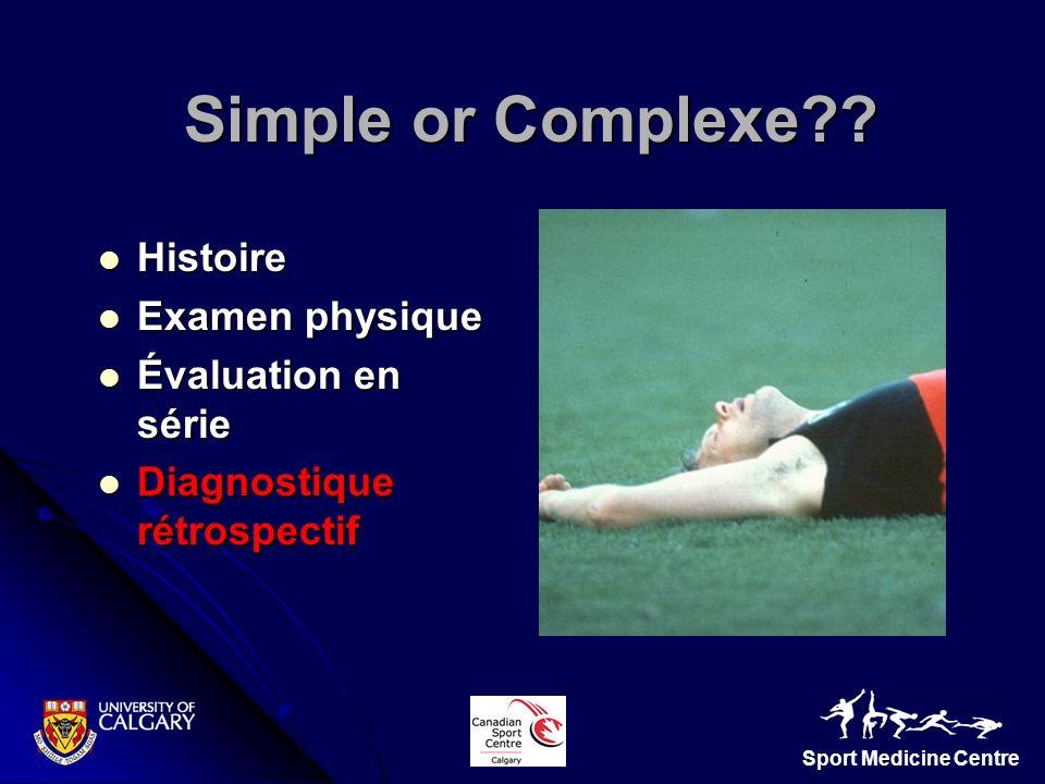 Sport Medicine Centre Simple or Complexe?? Simple or Complexe?? Histoire Histoire Examen physique Examen physique Évaluation en série Évaluation en sé