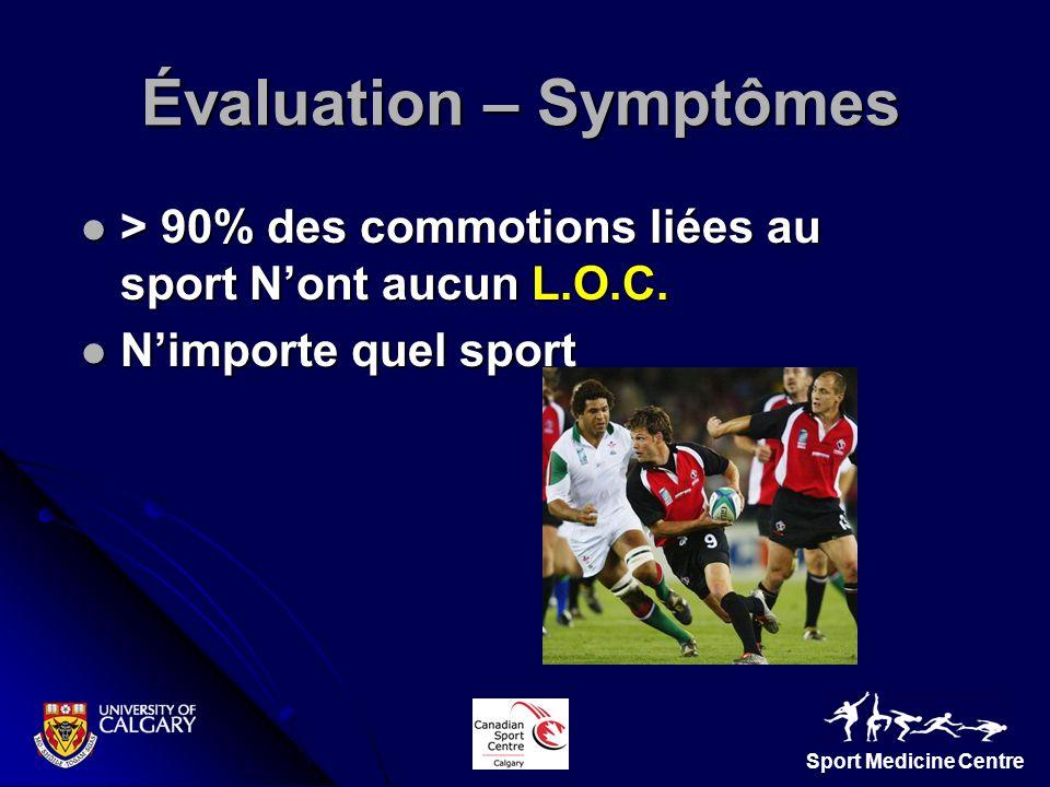 Sport Medicine Centre > 90% des commotions liées au sport Nont aucun L.O.C. > 90% des commotions liées au sport Nont aucun L.O.C. Nimporte quel sport