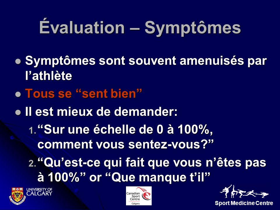 Sport Medicine Centre Symptômes sont souvent amenuisés par lathlète Symptômes sont souvent amenuisés par lathlète Tous se sent bien Tous se sent bien
