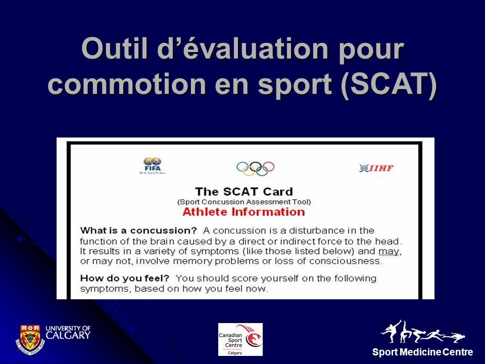 Sport Medicine Centre Outil dévaluation pour commotion en sport (SCAT)