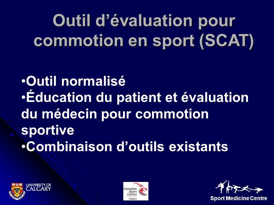 Sport Medicine Centre Outil dévaluation pour commotion en sport (SCAT) Outil normalisé Éducation du patient et évaluation du médecin pour commotion sp