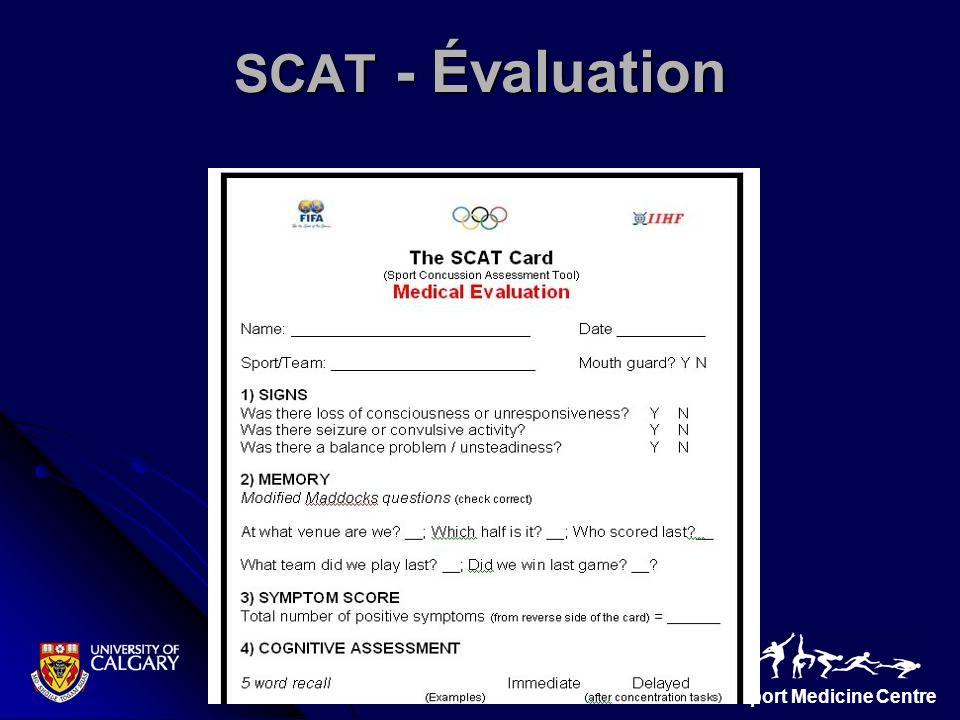 Sport Medicine Centre SCAT - Évaluation