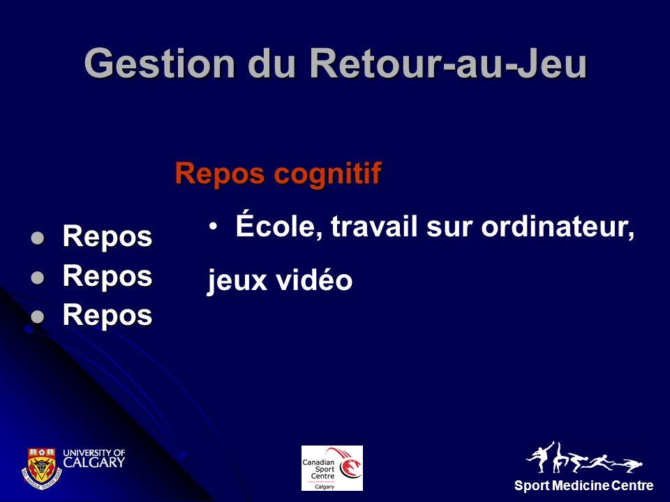 Sport Medicine Centre Repos Repos Repos cognitif École, travail sur ordinateur, jeux vidéo Gestion du Retour-au-Jeu