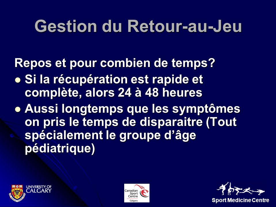 Sport Medicine Centre Gestion du Retour-au-Jeu Repos et pour combien de temps? Si la récupération est rapide et complète, alors 24 à 48 heures Si la r