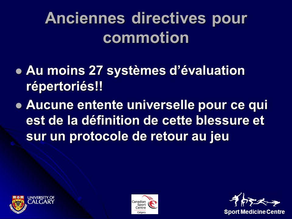 Sport Medicine Centre Au moins 27 systèmes dévaluation répertoriés!! Au moins 27 systèmes dévaluation répertoriés!! Aucune entente universelle pour ce