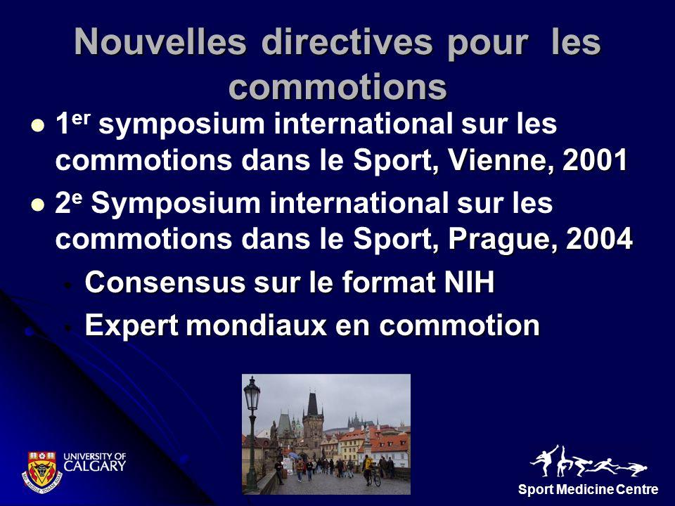 Sport Medicine Centre Nouvelles directives pour les commotions, Vienne, 2001 1 er symposium international sur les commotions dans le Sport, Vienne, 20