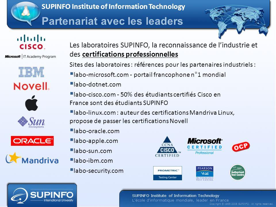 Lécole dinformatique mondiale, leader en France Copyright © 1965-2008 SUPINFO. All rights reserved. Les laboratoires SUPINFO, la reconnaissance de lin