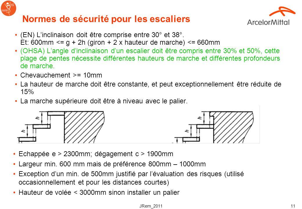 JRem_2011 10 Normes de sécurité concernant les matériaux & les dimensions General: –Capable de résister à la corrosion –Surface anti dérapante satisfa