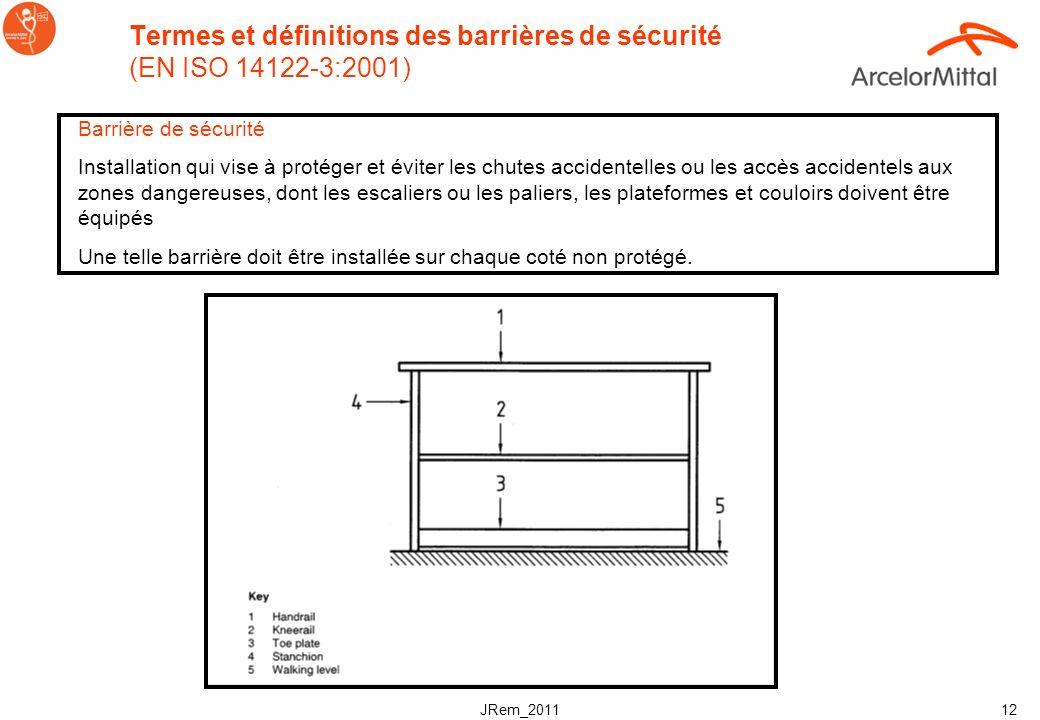 JRem_2011 11 Normes de sécurité pour les escaliers (EN) Linclinaison doit être comprise entre 30° et 38°. Et: 600mm <= g + 2h (giron + 2 x hauteur de