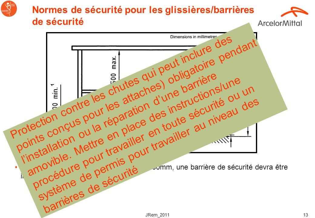 JRem_2011 12 Termes et définitions des barrières de sécurité (EN ISO 14122-3:2001) Barrière de sécurité Installation qui vise à protéger et éviter les