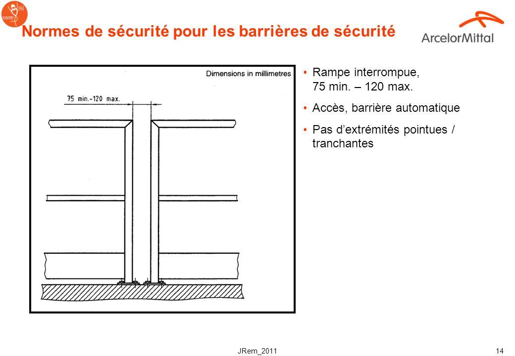 JRem_2011 13 Normes de sécurité pour les glissières/barrières de sécurité Quand la hauteur de chute potentielle >500mm, une barrière de sécurité devra
