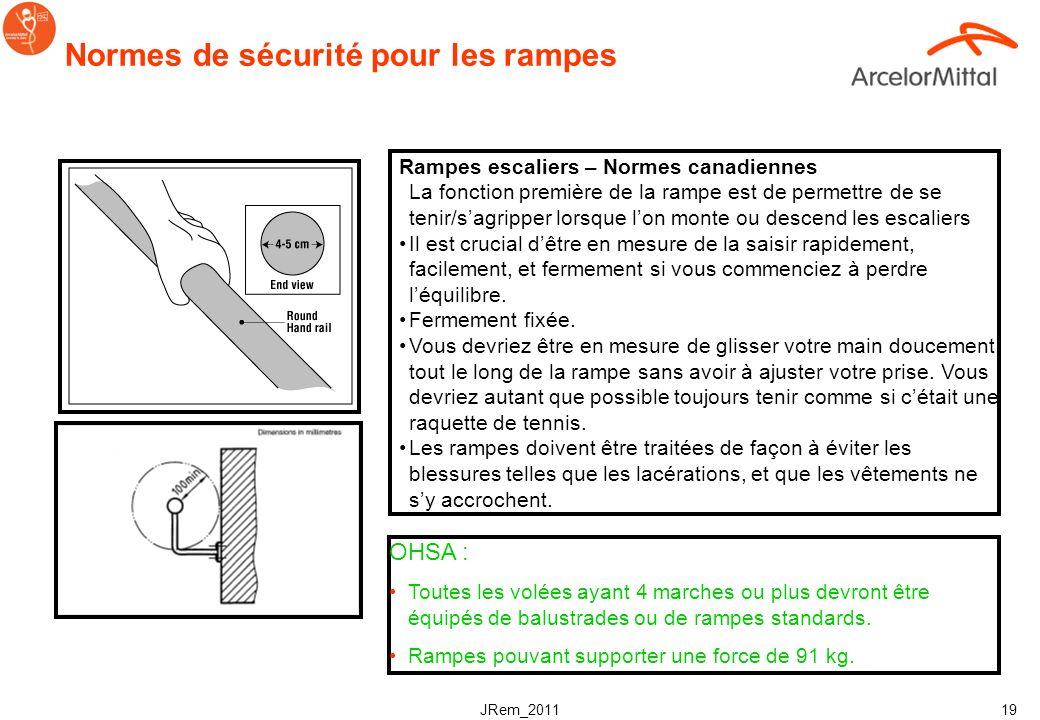JRem_2011 18 Normes de sécurité pour les barrières de sécurité des escaliers & les escabeaux Au minimum une rampe de protection Pour largeur > 1200mm,