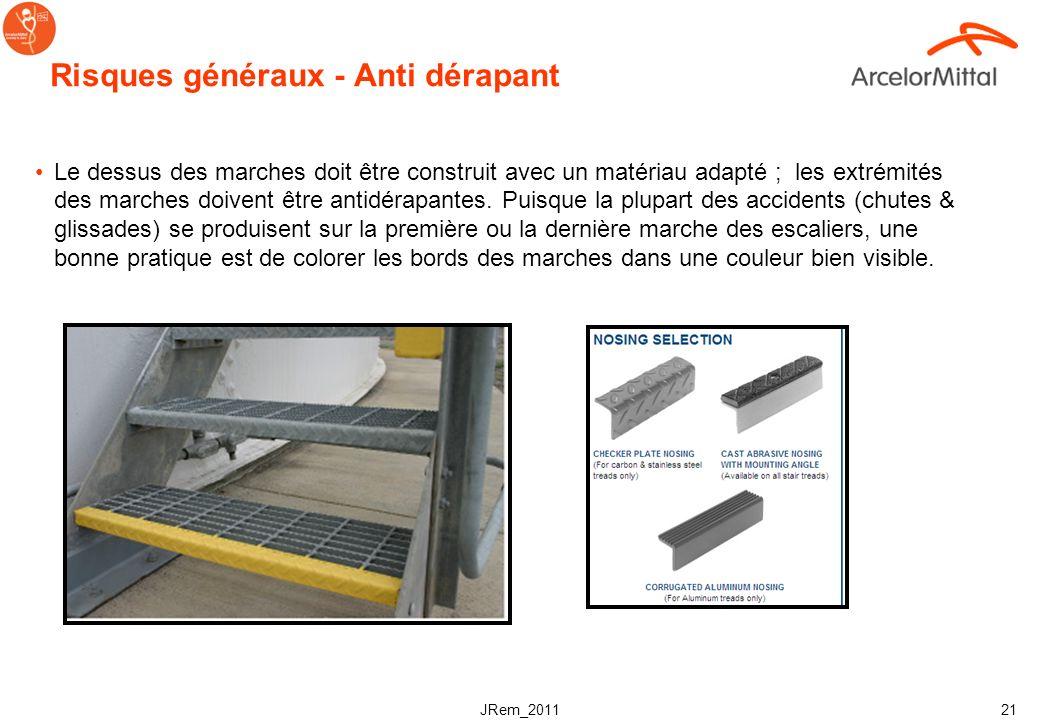 JRem_2011 20 Risques généraux - Glissades Les conditions pouvant entrainer des glissades dans les escaliers doivent être éliminées avant que les escal