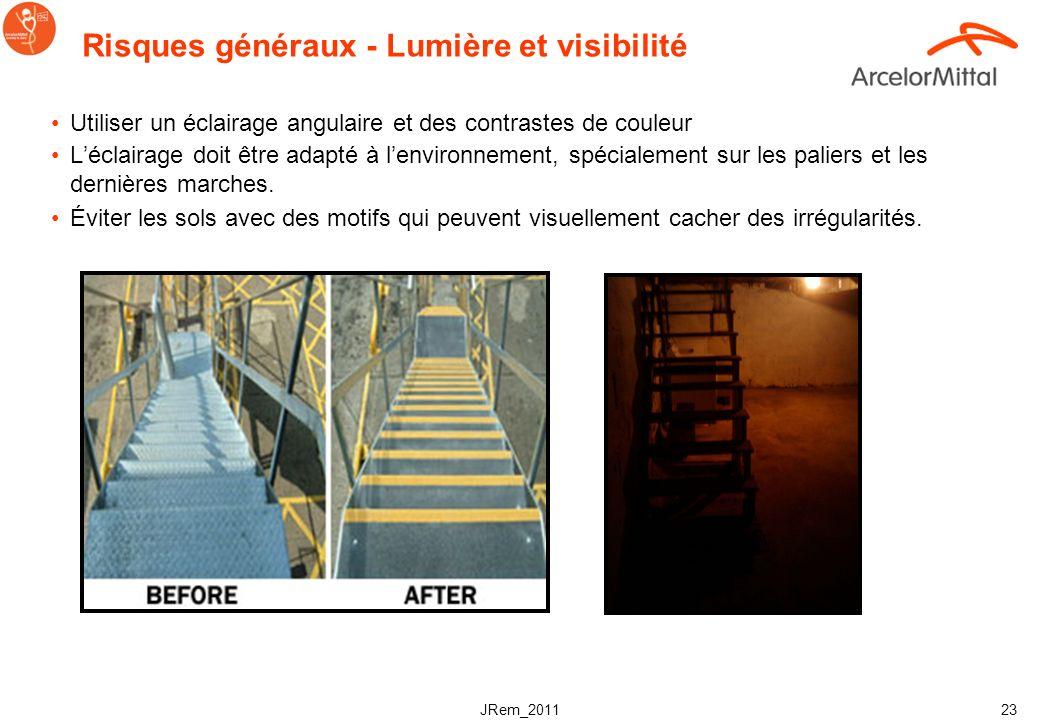 JRem_2011 22 Risques généraux - Marches et hauteur Les marches sont généralement plus dangereuses lorsque leur hauteur dépasse les 18 cm ou quelles ne