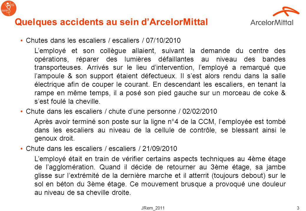 JRem_2011 3 Quelques accidents au sein dArcelorMittal Chutes dans les escaliers / escaliers / 07/10/2010 Lemployé et son collègue allaient, suivant la demande du centre des opérations, réparer des lumières défaillantes au niveau des bandes transporteuses.