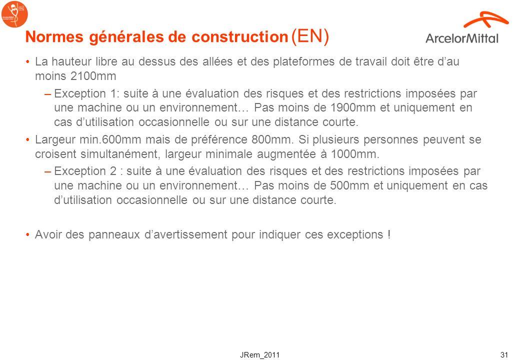 JRem_2011 30 Normes générales de construction (EN) Dimensionnement et sélection des composants (incluant les fixations, connexions, supports et fondat