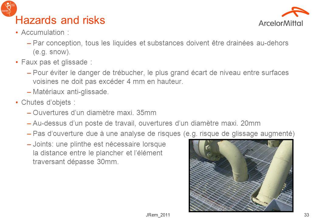 JRem_2011 32 Normes générales –Les caillebottis doivent présenter : une surface anti dérapante un pourcentage élevé de zone ouvertes permettant que la