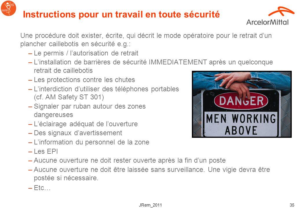 JRem_2011 34 Dangers & risques Risque de chute à travers le plancher: –Les caillebotis sont des éléments amovibles. Ils sont retirés par exemple lorsq