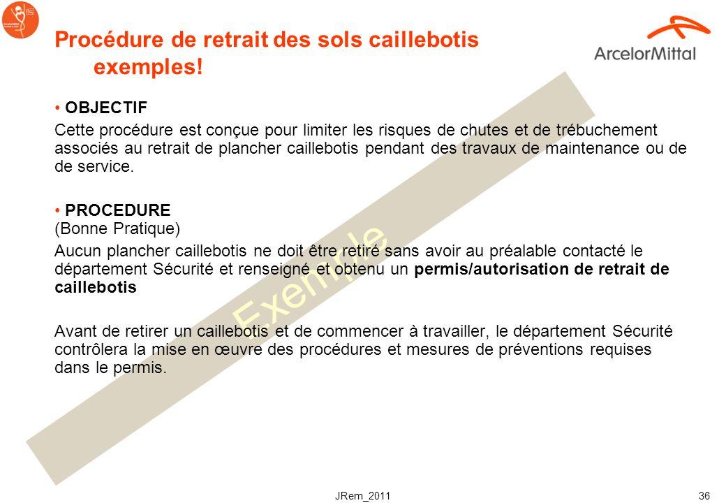 JRem_2011 35 Instructions pour un travail en toute sécurité Une procédure doit exister, écrite, qui décrit le mode opératoire pour le retrait dun plan