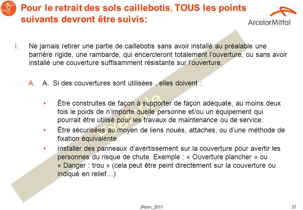 JRem_2011 36 Exemple Procédure de retrait des sols caillebotis exemples! OBJECTIF Cette procédure est conçue pour limiter les risques de chutes et de
