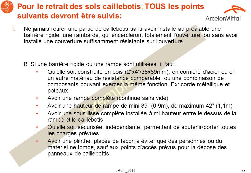 JRem_2011 37 Exemple Pour le retrait des sols caillebotis, TOUS les points suivants devront être suivis: I.Ne jamais retirer une partie de caillebotis